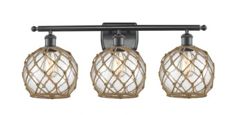 Farmhouse Rope 3 Light Bath Vanity Light (3442 516-3W-BK-G122-8RB-LED)