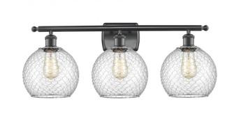Farmhouse Chicken Wire 3 Light Bath Vanity Light (3442 516-3W-BK-G122-8CBK-LED)