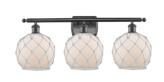 Farmhouse Rope 3 Light Bath Vanity Light (3442 516-3W-BK-G121-8RW-LED)