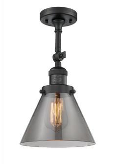 Large Cone 1 Light Semi-Flush Mount (3442 201F-BK-G43-LED)