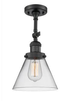 Large Cone 1 Light Semi-Flush Mount (3442 201F-BK-G42-LED)