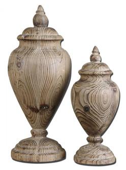 Uttermost Brisco Carved Wood Finials, Set/2 (85 19613)