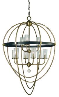 9-Light Antique Brass/Matte Black Margaux Chandelier (84 3049 AB/MBLACK)