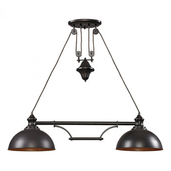 Farmhouse 2-Light Island Light in Oiled Bronze with Matching Shade (91 65150-2)