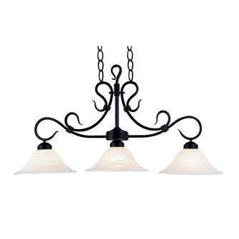 Buckingham 3-Light Island Light in Matte Black with White Faux-Marble Glass (91 247-BK)