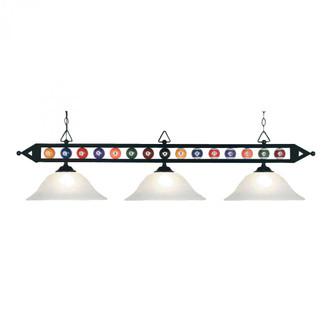 Designer Classics 3-Light Island Light in Matte Black with White Glass (91 190-1-BK-G1)