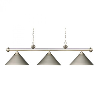 Casual Traditions 3-Light Island Light in Satin Nickel with Metal Shades (91 168-SN)