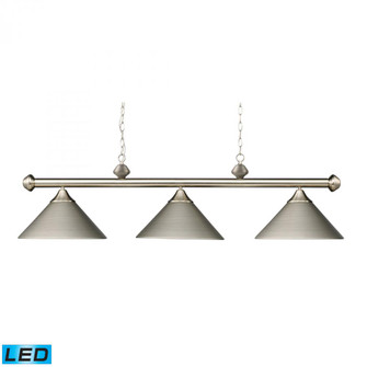 Casual Traditions 3-Light Island Light in Satin Nickel with Metal Shades - Includes LED Bulbs (91 168-SN-LED)