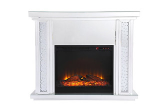 47.5 in. Crystal mirrored mantle with wood log insert fireplace (758|MF9901-F1)