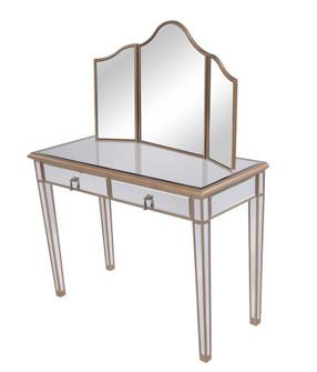 Vanity Table 42 in. x 18 in. x 31 in. and Mirror 39 in. x 24 in. (758|MF6-2003G)