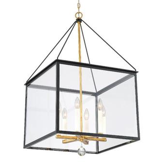 Weston 6 Light Black & Antique Gold Lantern (205 WES-9908-BK-GA)