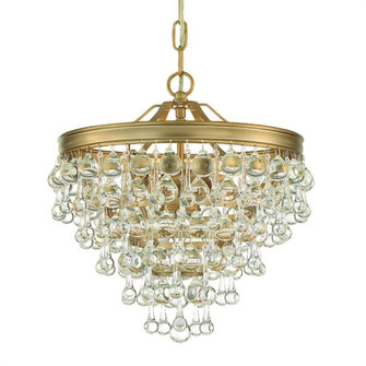 Calypso 3 Light  Crystal Teardrop Vibrant Gold Mini Chandelier (205|130-VG)