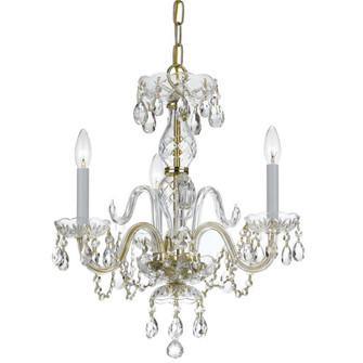 Traditional Crystal 3 Light Clear Swarovski Strass Crystal Brass Mini Chandelier (205 5044-PB-CL-S)