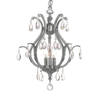 Dawson 3 Light Swarovski Strass Crystal Pewter Mini Chandelier (205 5560-PW-CL-S)