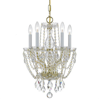 Traditional Crystal 5 Light Spectra Crystal Polished Brass Mini Chandelier (205 1129-PB-CL-SAQ)