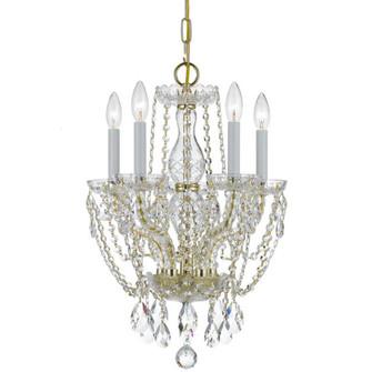 Traditional Crystal 5 Light Swarovski Strass Crystal Polished Brass Mini Chandelier (205 1129-PB-CL-S)