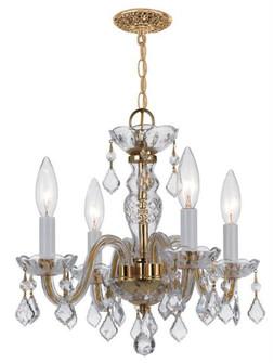 Traditional Crystal 4 Light Clear Swarovski Strass Crystal Brass Mini Chandelier (205 1064-PB-CL-S)