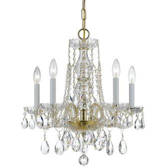 Traditional Crystal 5 Light Swarovski Strass Crystal Brass Mini Chandelier (205 1061-PB-CL-S)
