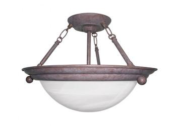 Two Light Oil Rubbed Bronze White Swirl Glass Bowl Semi-Flush Mount (1|HS6213RBSCT)