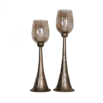 Uttermost Badal Antiqued Gold Candleholders Set/2 (85|18848)