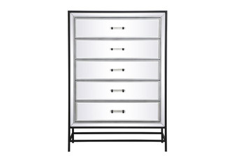 48 inch mirrored 6 drawers chest in black (758|MF73017BK)