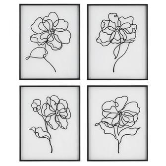 Uttermost Bloom Black White Framed Prints, S/4 (85 41430)