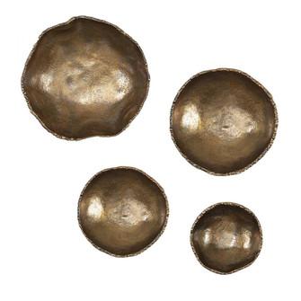 Uttermost Lucky Coins Brass Wall Bowls, S/4 (85 04299)