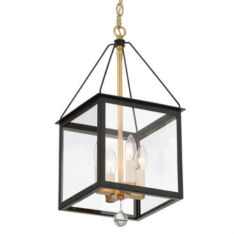 Weston 4 Light Black & Antique Gold Lantern (205 WES-9903-BK-GA)