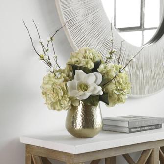 Uttermost Seabrook Floral Bouquet In Gold Vase (85 60191)