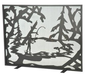 44'' Wide X 33'' High Fly Fishing Creek Fireplace Screen (96|111046)