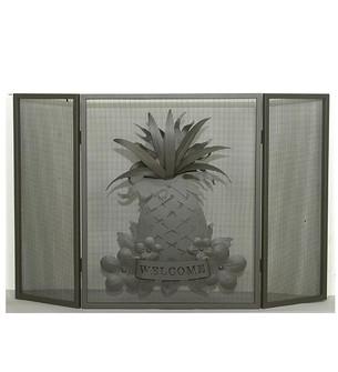 49''W X 30''H Welcome Pineapple Fireplace Screen (96|81084)