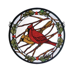 15''W X 15''H Cardinals & Holly Stained Glass Window (96|65289)