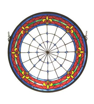 21''W X 21''H Fleur-de-lis Medallion Stained Glass Window (96|51811)