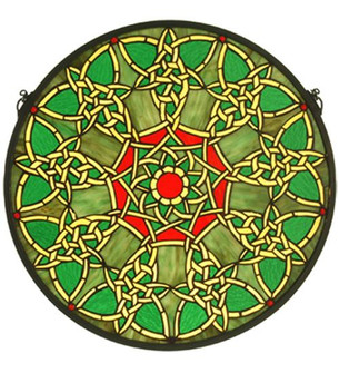 20''W X 20''H Knotwork Trance Medallion Stained Glass Window (96|51527)