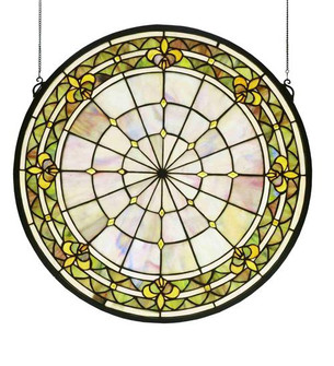 21''W X 21''H Fleur-de-lis Medallion Stained Glass Window (96|49840)