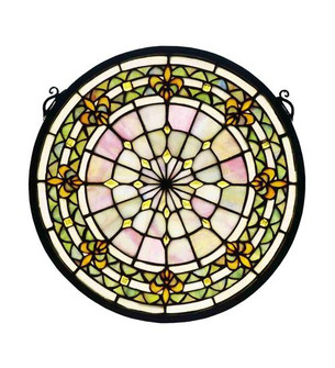 13'' Round Fleur-de-Lis Medallion Stained Glass Window (96|49839)