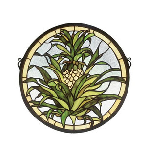 16''W X 16''H Welcome Pineapple Stained Glass Window (96|48550)