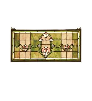 24''W X 11''H Tulips Transom Stained Glass Window (96|98463)