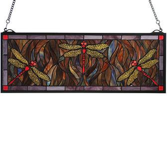 28''W X 10''H Tiffany Dragonfly Trio Stained Glass Window (96|48091)