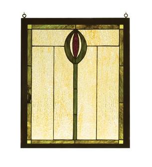 14''W X 17''H Spear Wood Frame Stained Glass Window (96|98100)