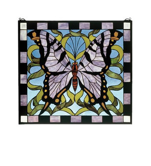 25''W X 23''H Butterfly Stained Glass Window (96|46464)