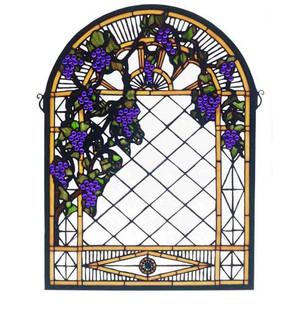 16''W X 22''H Grape Diamond Trellis Stained Glass Window (96|38656)