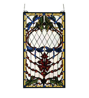 14''W X 25''H Dragonfly Allure Stained Glass Window (96|77734)