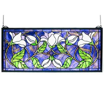 25''W X 11''H Magnolia Stained Glass Window (96|30705)