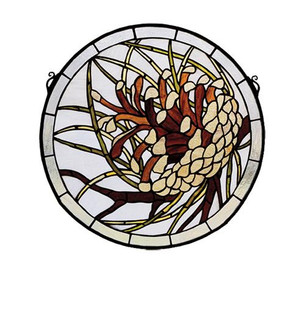 17''W X 17''H Pinecone Stained Glass Window (96|30448)