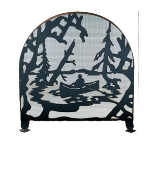 30''W X 30''H Canoe At Lake Arched Fireplace Screen (96|28741)