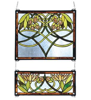 21''W X 26''H Waterlily 2 -Piece Stained Glass Window (96|27233)