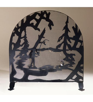 30''W X 30''H Fly Fishing Creek Arched Fireplace Screen (96|37739)