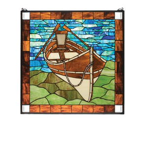 26''W X 26''H Beached Guideboat Stained Glass Window (96|21440)