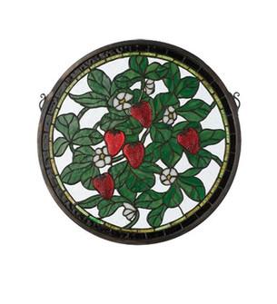 17''W X 17''H Strawberry Medallion Stained Glass Window (96|20728)